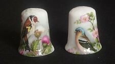 TWO 2 DECORATED ILLUSTRATED BIRD PAINTINGS BEVERLEY FINE CHINA SOUVENIR THIMBLES