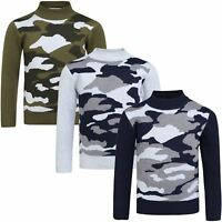 Kids Camouflage Knitted Jumper Boys Long Sleeve Pullover Sweater Top 3-12 Years