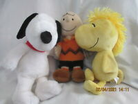"""Kohl's Cares Peanuts Charlie Brown Snoopy Woodstock 13""""  Plush Toy lot of 3"""