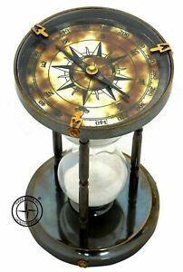 Nautical Maritime Marine Antique Brass Compass Hourglass Old Sand Clock Timer