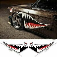2pc Set Shark Mouth Tooth Stickers Vinyl Exterior Decal For Car Side Door Fender