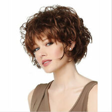 Dark Brown Hair Wig Short Curly Women Fluffy Wavy Curls Chocolate Natural Wigs