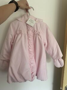 Emile Et Rose Baby Girl Pink Coat With Mittens 18 Months