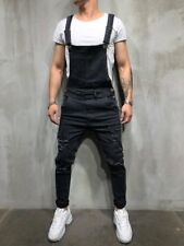 Men's Distressed Denim Carpenter Overalls Bib Jumpsuits Moto Biker Jean Pants US