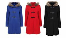 LADIES LONG DUFFLE COAT WITH FAUX FUR LINNED HOOD SIZE 10-24