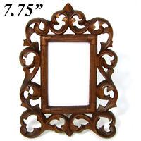 "Antique Edwardian Era Carved Wood Carte d'Visite Sized 7.75"" Picture Frame"