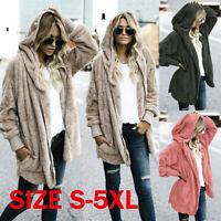 Women Plus Size Hooded Knitted Fluffy Cardigan Sweater Parka Outwear Coat Jacket