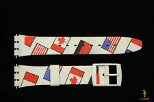 17mm Country Flags Soft Pvc Replacement White Watch Band Strap fit Swatch watch
