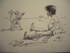 Print of Children's Book Drawing of  Boy & Calf  by 1950's Illustrator Leal Mack