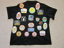 Vtg 70's 80's Ladies Black Bowling Jacket w/ 22 Patches and 18 Pins