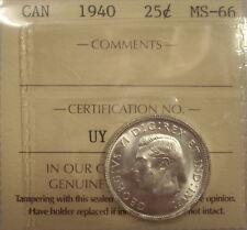 Super Gem George VI 1940 Silver 25 Cent - ICCS MS-66