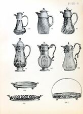 Stampa antica argenteria BROCCHE PORTAPANE Boulenger 1890 Old print silverware