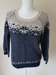 Fatface Womens Patterned Navy Jumper Size 12 <CX7922z