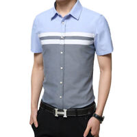 Mens Color Splice Short Sleeved Casual Shirts Slim Fit Business Dress Shirt Tops