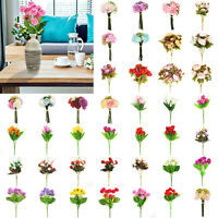 Silk Rose Artificial Flowers Bunch in vase Bouquet Wedding Xmas Home Party Decor