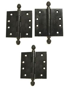 "Baldwin 4 x 4"" Hinges w Acorn Finial Top Matte Black Finish Set of 3"