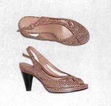 ACCESSOIRE DIFFUSION sandales cuir «effet pied de poule» P 36 TBE