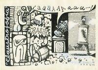 Drawing by Eduardo Abela Torras ¨Clasutrofobia¨, 1999. Original signed
