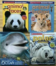 4 Children's Nonfiction Animals Books Scholastic Dolphin Pop-Up Book Panda Shark