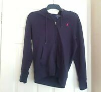 POLO RALPH LAUREN MENS NAVY BLUE ZIP UP HOODIE SIZE SMALL CONDITION USED