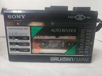 Vintage Sony FM/AM Walkman Cassette Player WM-F18/F28 Japan Headphone  jack bad
