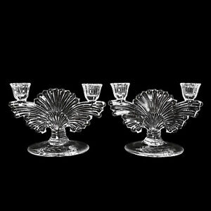 Antique Art Deco Pressed Glass Double Candelabra Candlestick Holders - A Pair
