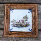 Old Vintage Framed Delft Makkum Tile - Landscape Scene Of A House And Church