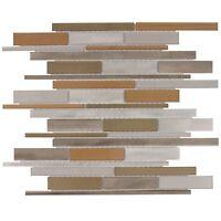 Modern Beige Orange Gray Glossy Glass Metal Mosaic Backsplash Tile Wall MTO0140
