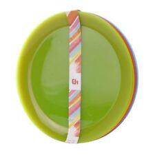 Set of 6 Multi Coloured Plastic Reusable Plates 21CM Picnic Kids Party BBQ Camp