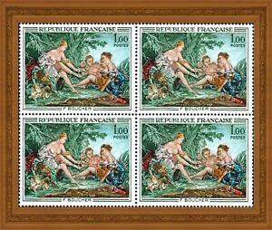 France 1970 ART, tableau de François Boucher, bloc de 4 timbres, YT 1652 ** MNH