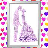 FIRST 1st WEDDING ANNIVERSARY Word Art Keepsake Gift Personalised for her or him