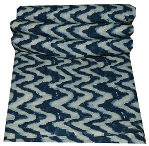 5 Yard Zig Zag Cotton Handmade Fabric Sanganeri Vintage Running Loose Fabric New