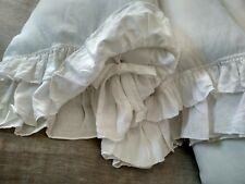 LINEN PILLOWCASE with Double Ruffles and Tie Closure King PURE FLAX PILLOW SHAM