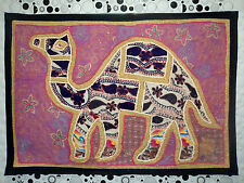 HANDMADE CAMEL BOHEMIAN PATCHWORK WALL HANGING EMBROIDERED VINTAGE TAPESTRY C 06