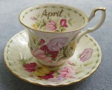 Royal Albert Flower of the Month Cup and Saucer Set April Sweet Pea  ENGLAND