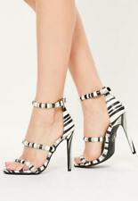 Missguided Grey Striped Three Strap Barely There Heels £85 Size UK 3 - UK 7 (M 1