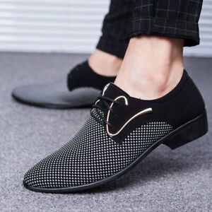 Mens Dress Formal Faux Leather Business Shoes Pointy Toe Lace Up Oxfords Party