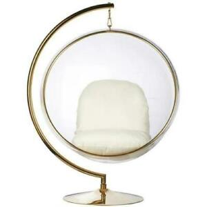 Hanging Bubble Chair with Stand in Gold Finish Various Colour Cushions