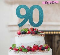 LissieLou 90th Birthday Cake Topper Glitter Card Made in the UK