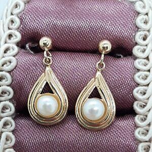 Lovely JCM Jacmel Mauritius 14K Yellow Gold Pearl Swirl Dangle Earrings