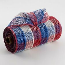 """10"""" x 10 yards Poly Burlap Mesh (Red, White, Blue Check)"""