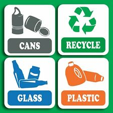 Self Adhesive 4 pack of recycling Signs Sticker, Decal paper glass plastic cans