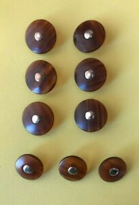 """Lot of 9 Vintage Brown and Silver Round Buttons 7/8"""" & 3/4"""" Plastic and Metal"""