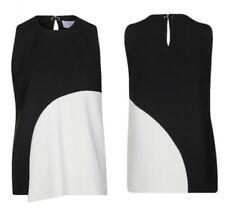NEW Hugo Boss Ikrysa Sleeveless Asymmetrical Black & Sand Top Blouse Sz 10 $285
