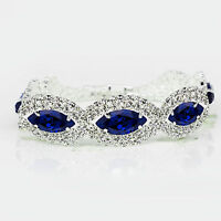 Silver Royal Dark Blue Rhinestones Eye Shiny Bracelet Bridal Jewellery BB153