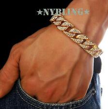 14MM Miami Cuban Link Bracelet Hip Hop Mens Jewelry 14k Gold Plated