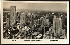 New York City Real Photo Postcard RPPC ~ Aerial View Radio City & Midtown Hotels