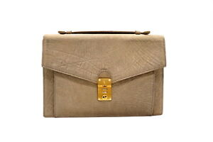 VALENTINO Vintage Hand Bag Embossed Unisex Classic Leather Gray 4733h