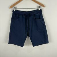 Zara Mens Shorts Medium W31 Blue Elastic Waist Drawstring Pockets Chinos
