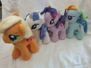 "4x My Little Pony 7"" Plush Ponies Apple Jack Rarity Twilight SparkleRainbow Dash"
